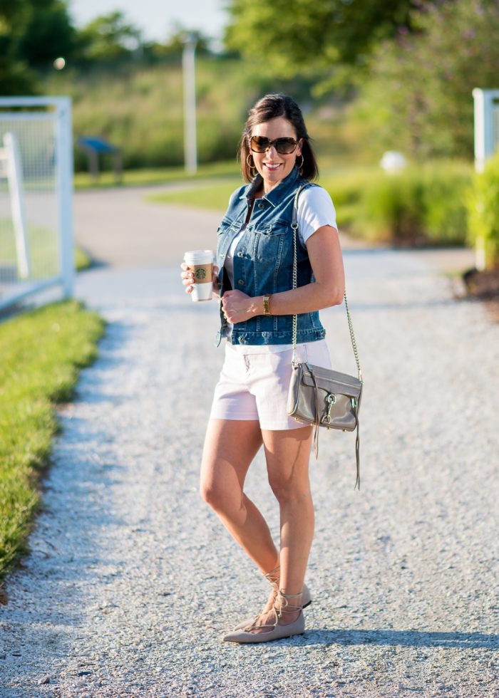 Lace-up flats with shorts is a fresh, fun look for summer. I'm wearing Old Navy Pixie Chino Shorts in Lilac and M.Gemi Brezza Lace Up Flats in Latte.