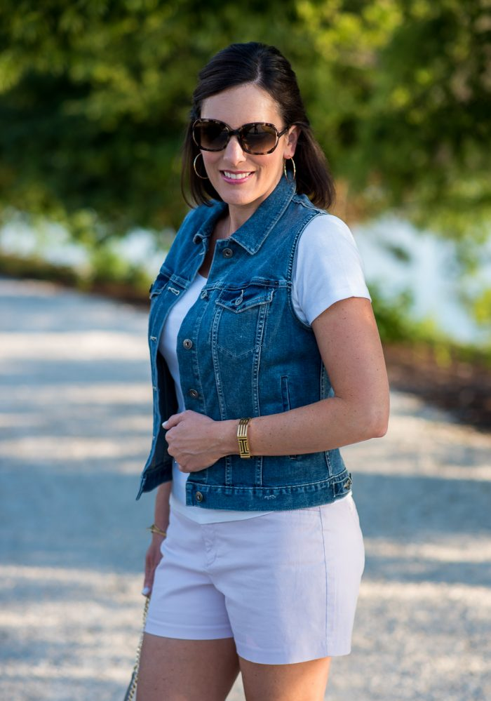 Summer Outfit for Women Over 40: Chino Shorts with t-shirt and denim vest