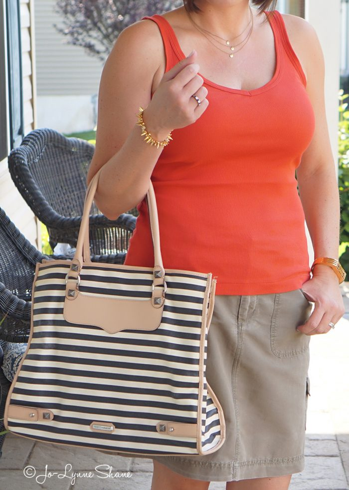 orange and olive with black and white striped tote