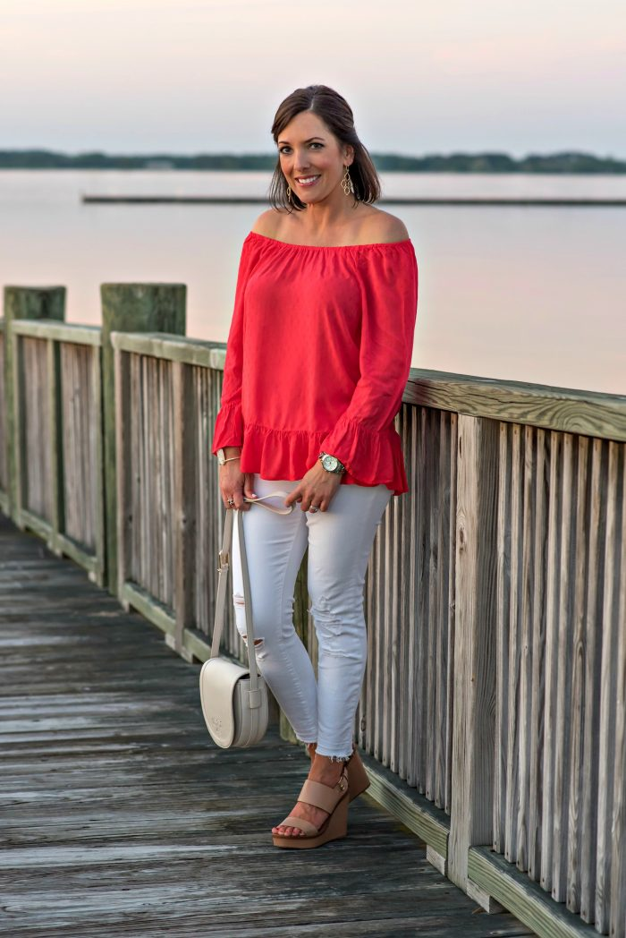 Summer Date Night Outfit Red Off-the-Shoulder Top
