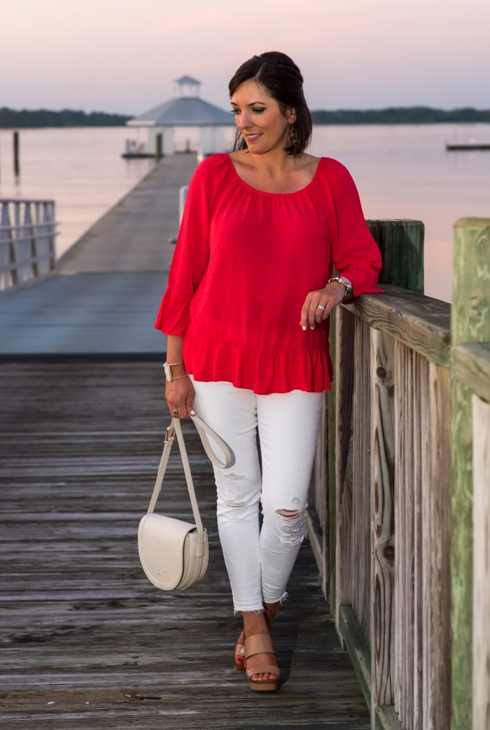 Summer Date Night Outfit: Red Off-the-Shoulder Top