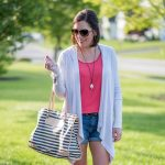 Splendid Draped Thermal Hoodie with Rolled Jean Shorts