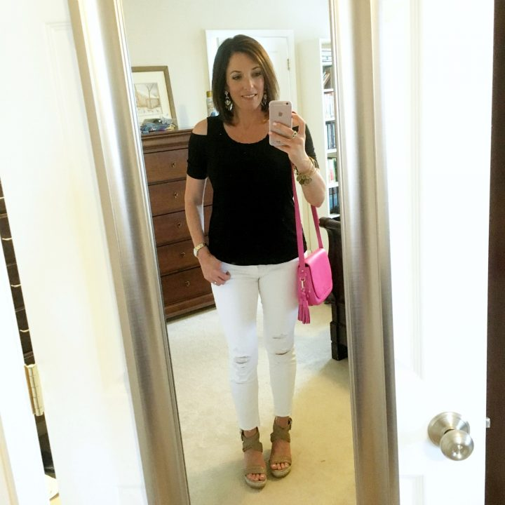 Summer Date Night Outfit for Women Over 35 -- Splendid Rayon Jersey Cold Shoulder Tee with J. Brand Crop Jeans and Stuart Weitzman Elixir Wedge Sandals