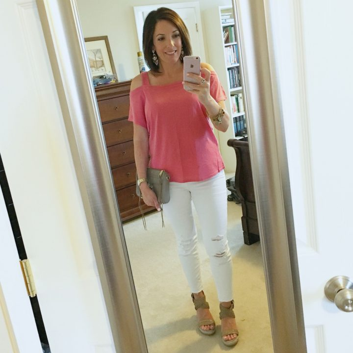 Summer Date Night Outfit -- Splendid Vintage Whisper Layer Cold Shoulder Tee with J. Brand Crop Jeans and Stuart Weitzman Elixir Wedge Sandals
