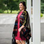 Stripe Poncho + Sheath Dress