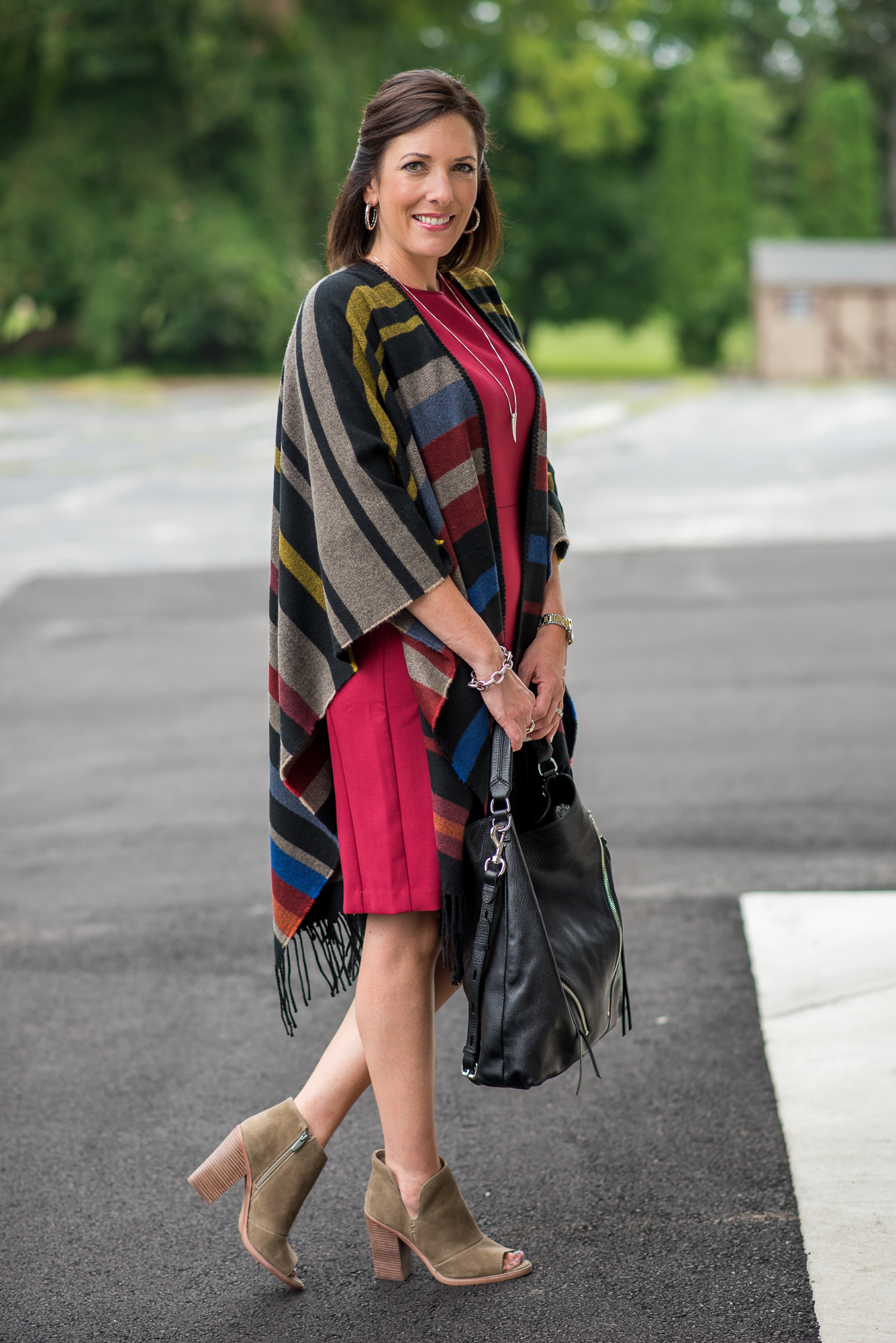 Stripe Poncho Sheath Dress