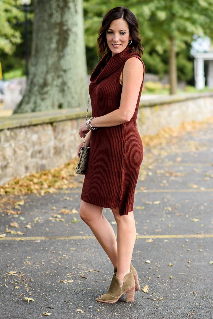 Fall Sweater Dress Outfit with Booties