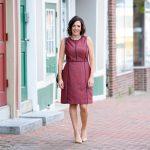 Fall Fashion: Navy & Red Foulard Sheath