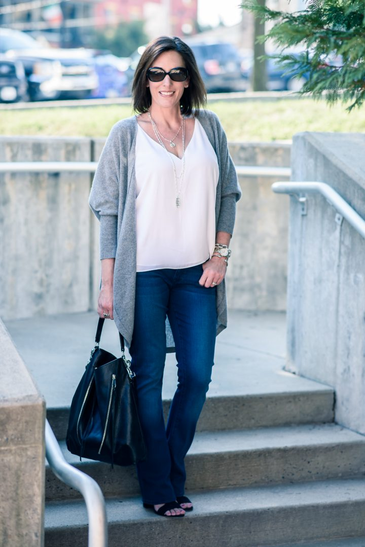 For your fall outfit inspiration, I'm styling this gorgeous luxe cashmere cocoon cardigan with bootcut jeans and suede block heel sandals.