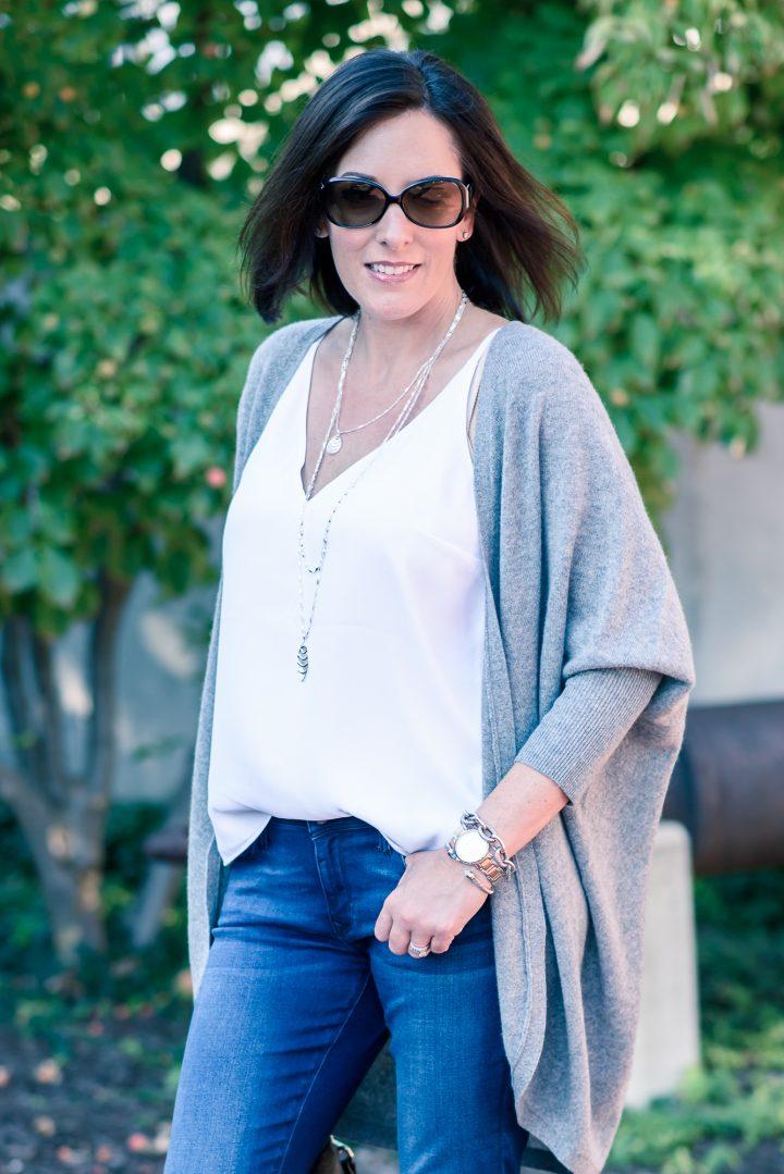 Fall Outfit Inspo: Bootcut Jeans + Kimono Cardigan | Jo-Lynne Shane