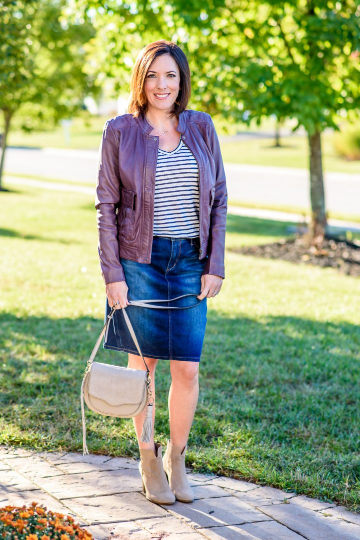 How to wear a denim skirt with ankle boots