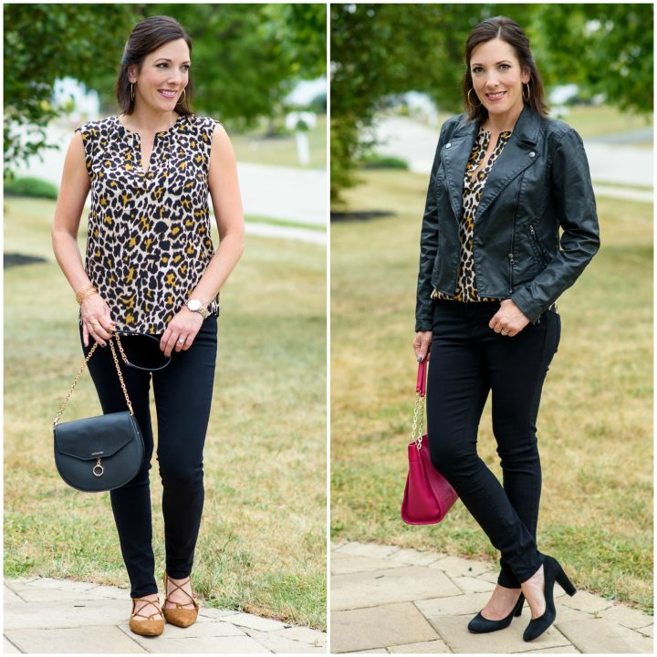 Leopard Silk Blouse Two Ways