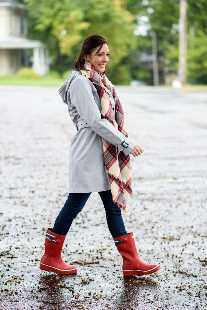 Silver Trench u0026 Red Rain Boots Outfit