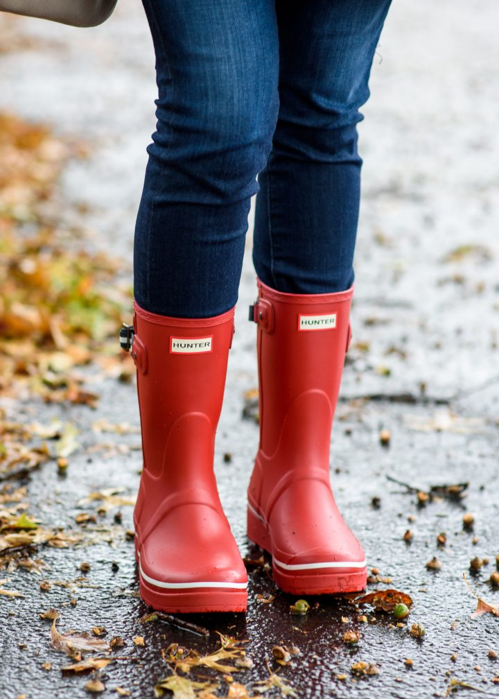 Trench & Red Rain Boots Outfit