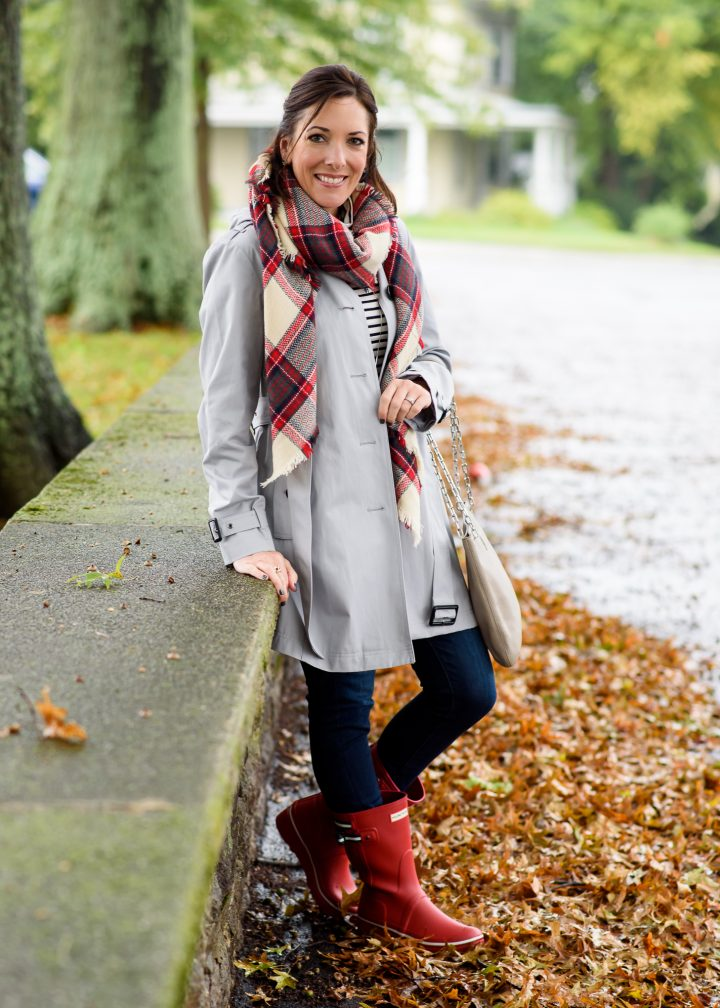Silver Trench Red Rain Boots Outfit