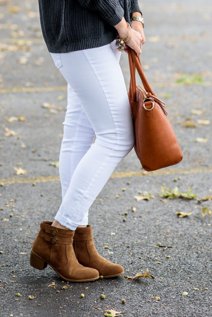 How to Wear Ankle Boots -- Cropped Skinny Jeans with a Single Cuff