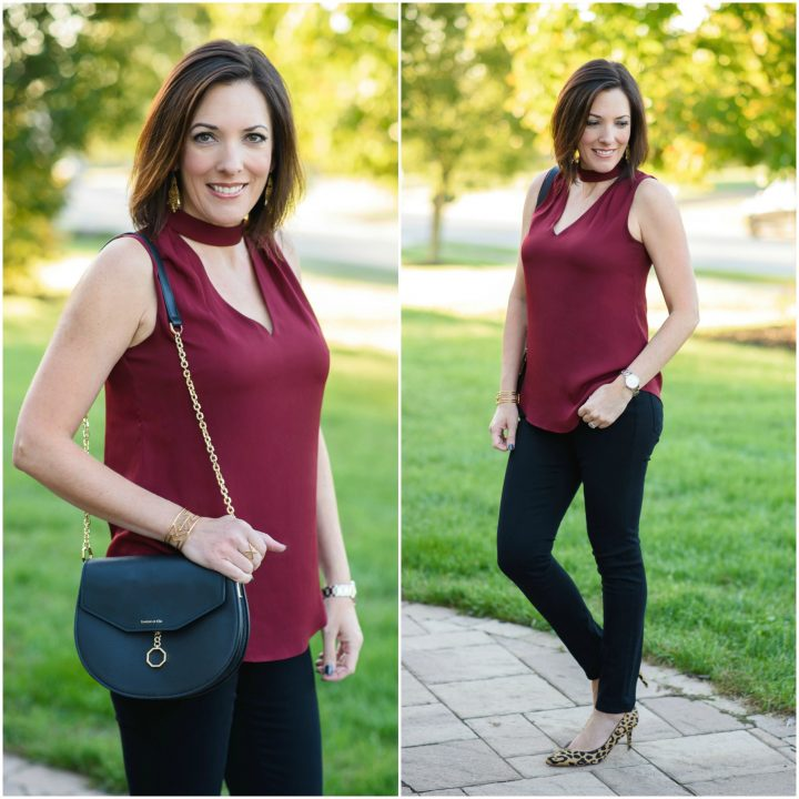 Fall Date Night Outfit: Woven Halter Top & Black Pants