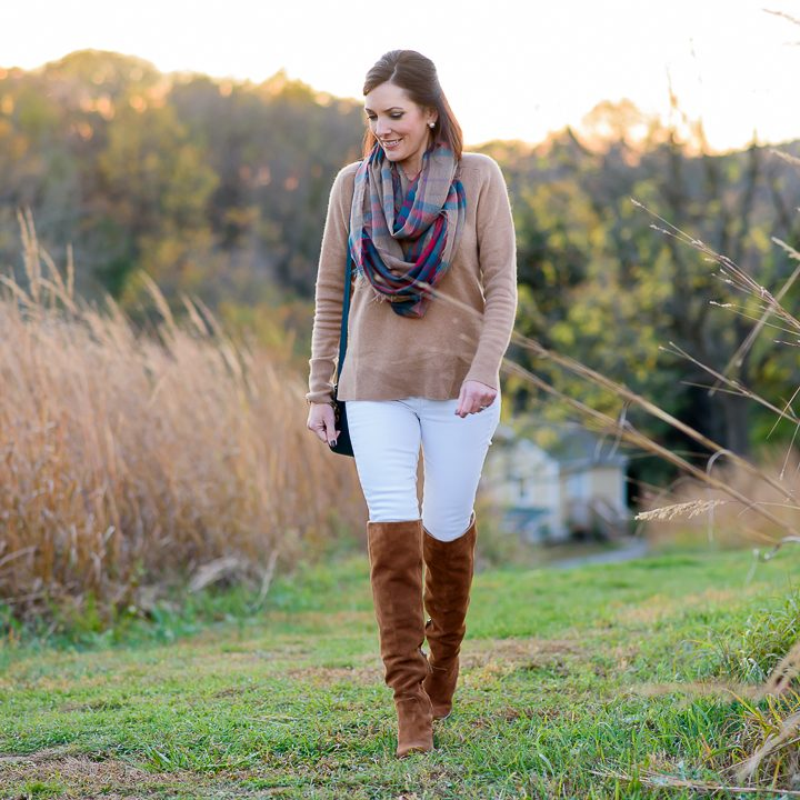 Plaid, Camel & White Jeans for Fall
