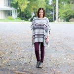 Striped Poncho with Low-Heel Booties
