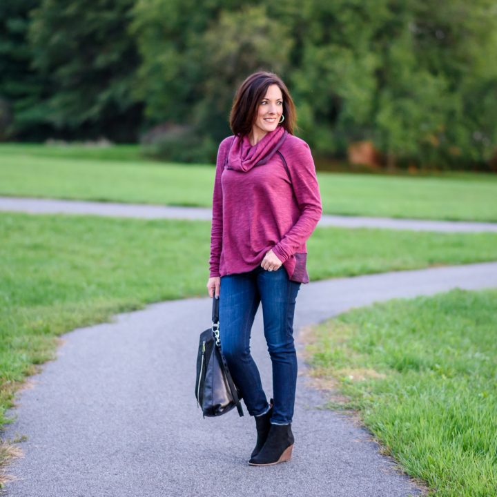 The Softest Cowl Neck Pullover + Suede Wedge Booties
