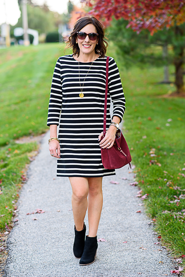 Black &amp- White Striped Dress Styled Two Ways