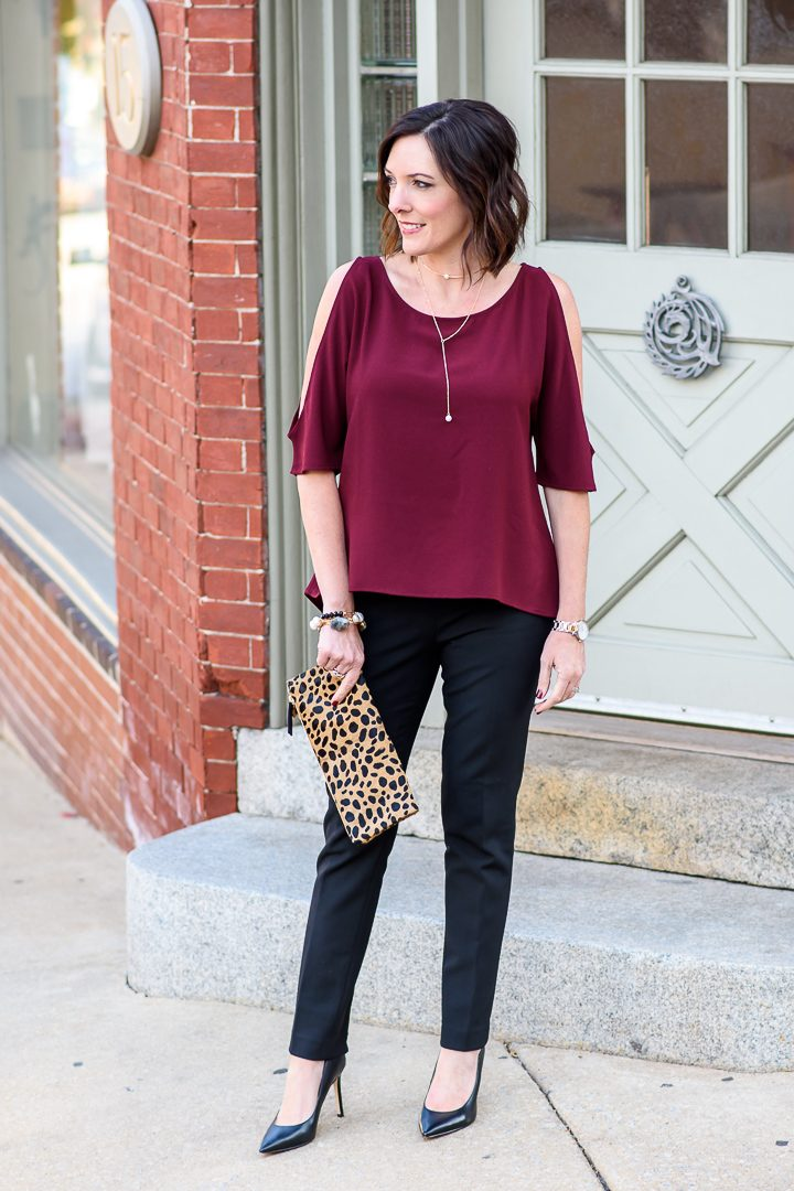 Holiday Party Pants Outfit with Cold Shoulder Top