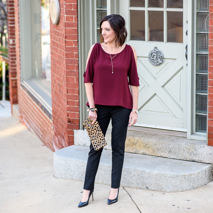 Christmas Party Trousers: Holiday Party Pants Outfit With Cold Shoulder Top
