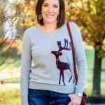 Reindeer Sweater & Denim Skirt Outfit