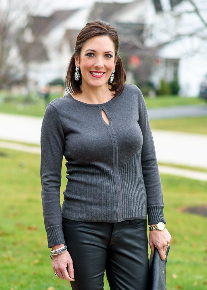 Holiday Party Outfit with Charcoal Keyhole Sweater & Coated Denim