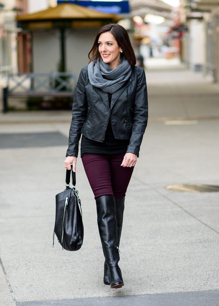 Moto Jacket Otk Boots With Aubergine Skinnies