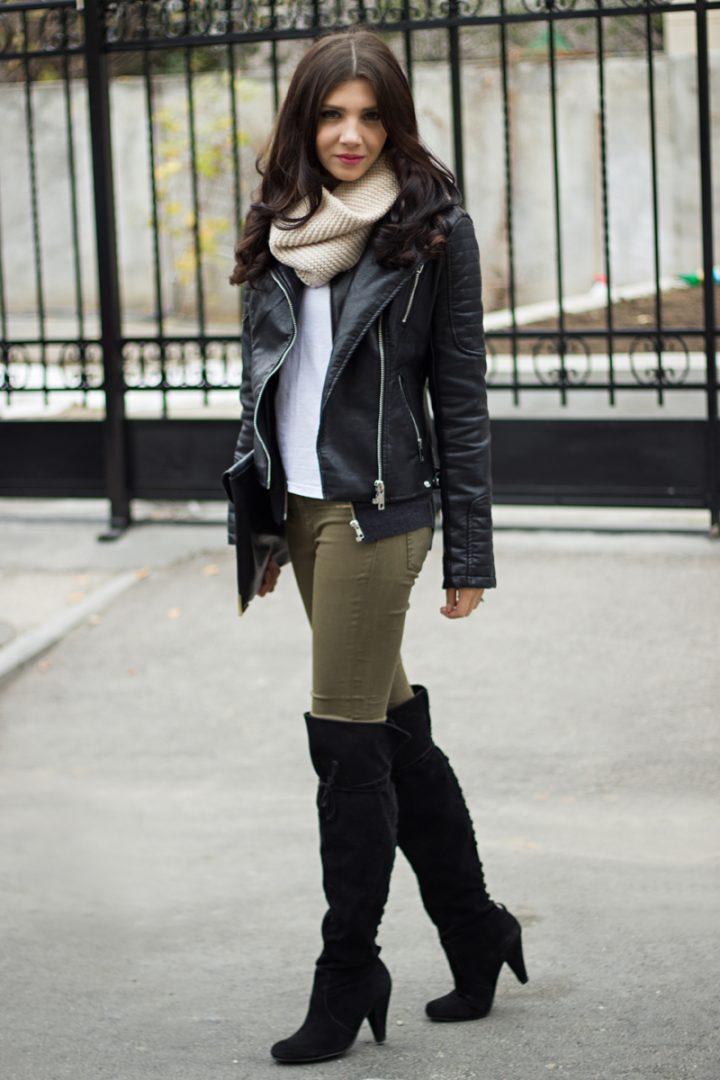 Moto Jacket + OTK Boots with Aubergine Skinnies