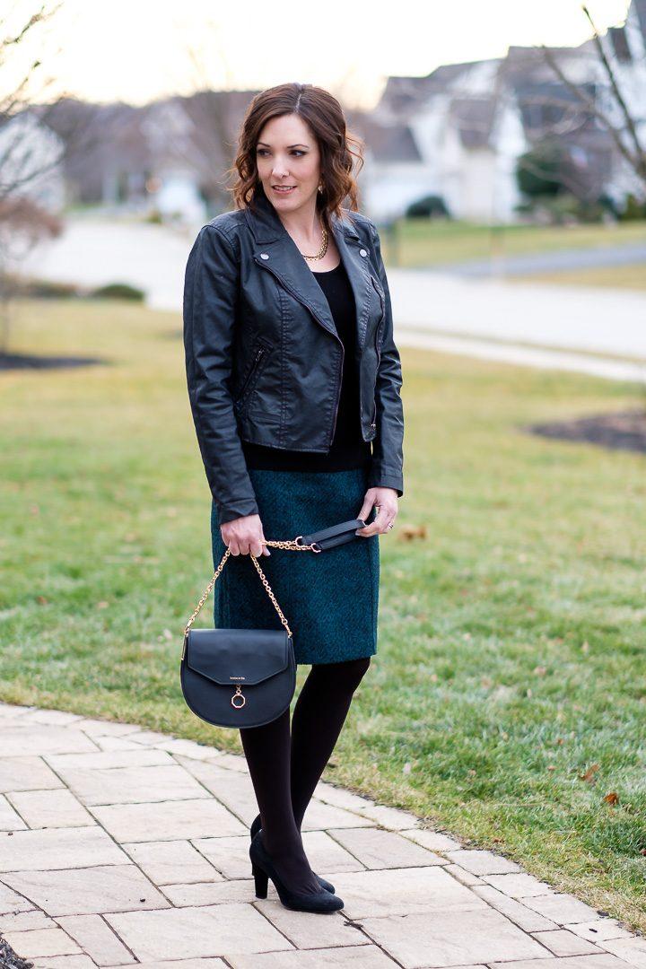 Flannel Pencil Skirt & Moto Jacket