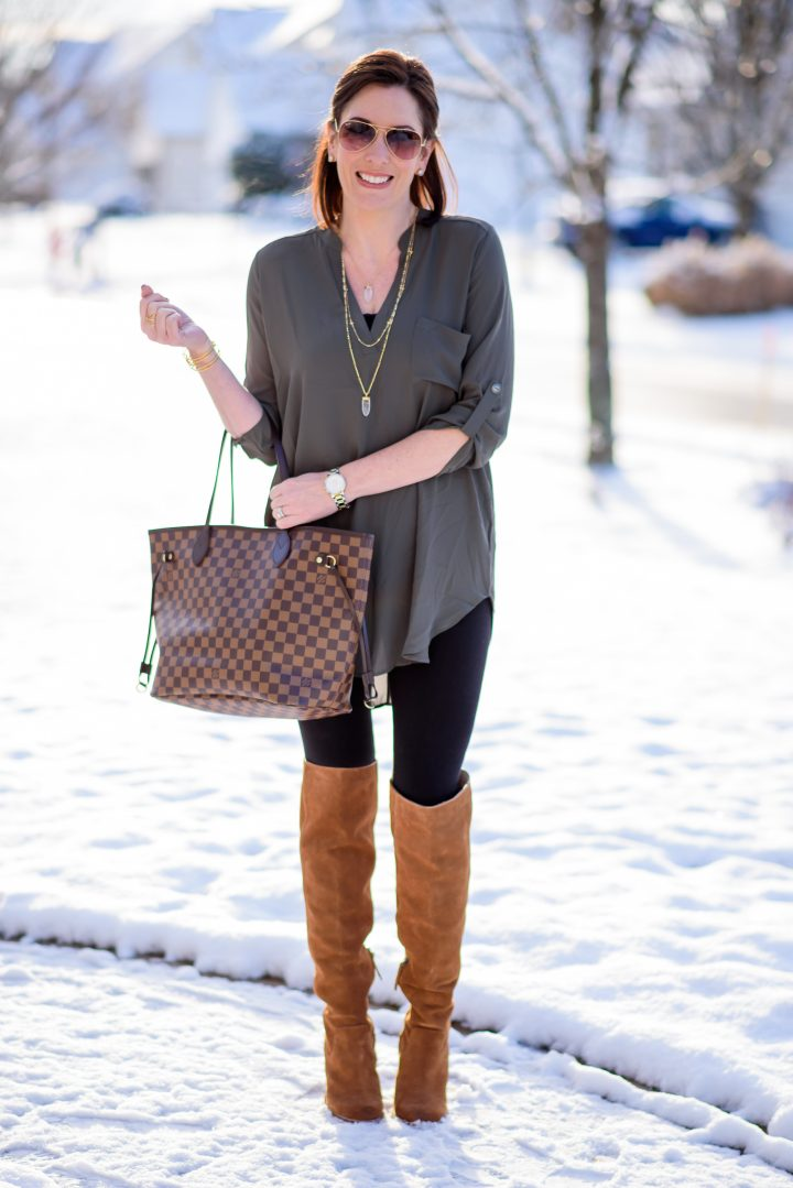 Casual Outfit Formula Leggings + Tunic + Tall Boots