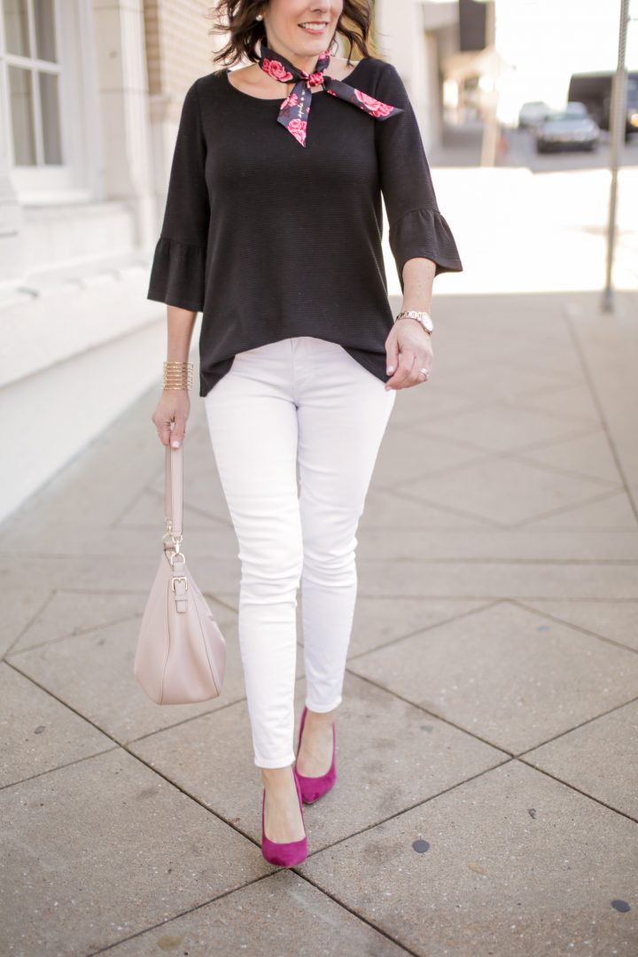 Bell Sleeve Top & White Jeans with Floral Skinny Scarf