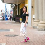 Spring/Summer Date Night: Black & White Outfit with Pink Sandals