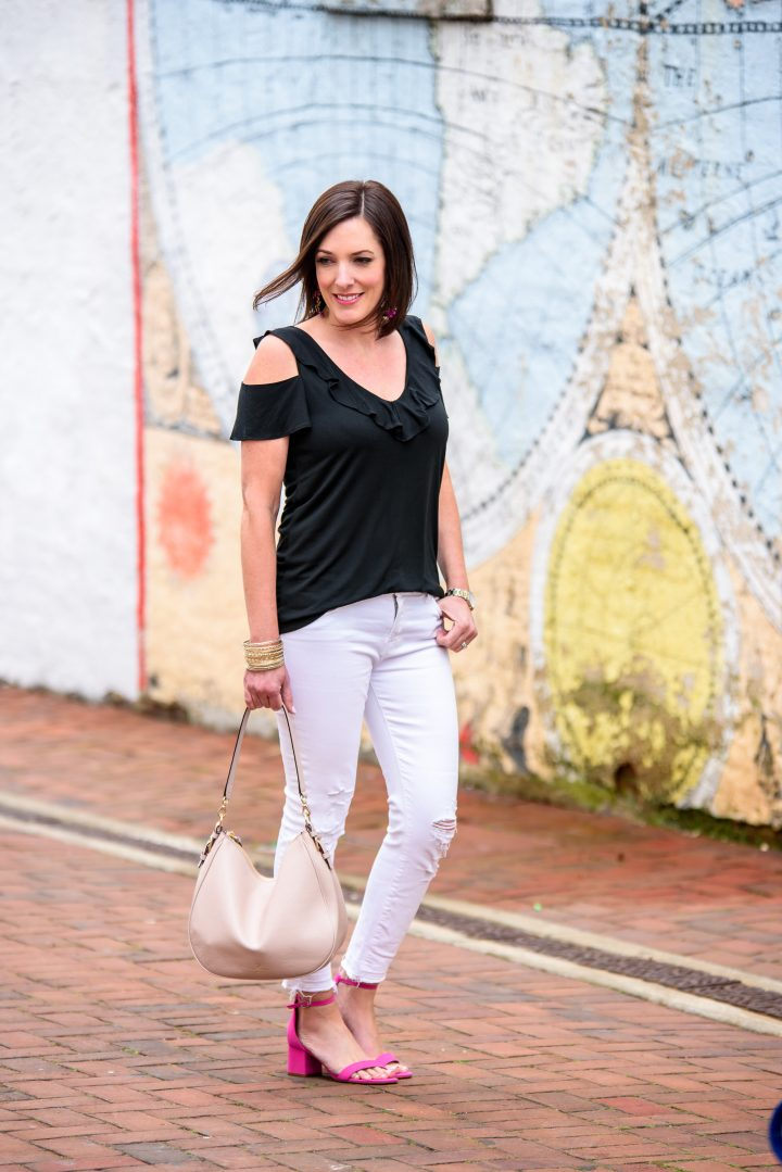 Summer Date Night Outfit: Black Cold Shoulder Ruffle Tank with white J.Brand jeans and pink Steve Madden Irenne Block Heel Ankle Strap Sandals