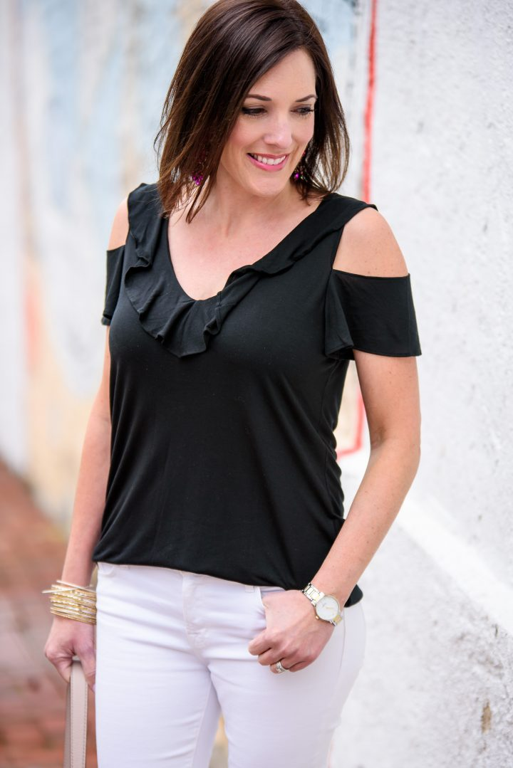 I'm date night ready with this black and white outfit featuring a black Banana Republic cold shoulder ruffle tank, white J.Brand jeans, and pink Steve Madden Irenne Block Heel Ankle Strap Sandals!