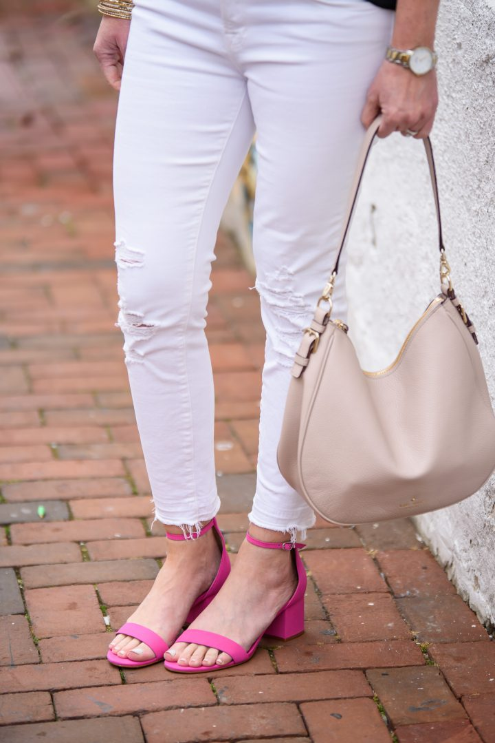 Spring/Summer Date Night Outfit: Black Cold Shoulder Ruffle Tank with white J.Brand jeans and pink Steve Madden Irenne Block Heel Ankle Strap Sandals