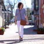 Striped Ballet-Back Tee & Denim Lace-Up Flats