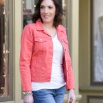 Coral Denim Jacket & Leopard Flats for Spring
