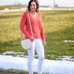 Early Spring Outfit: Coral & White