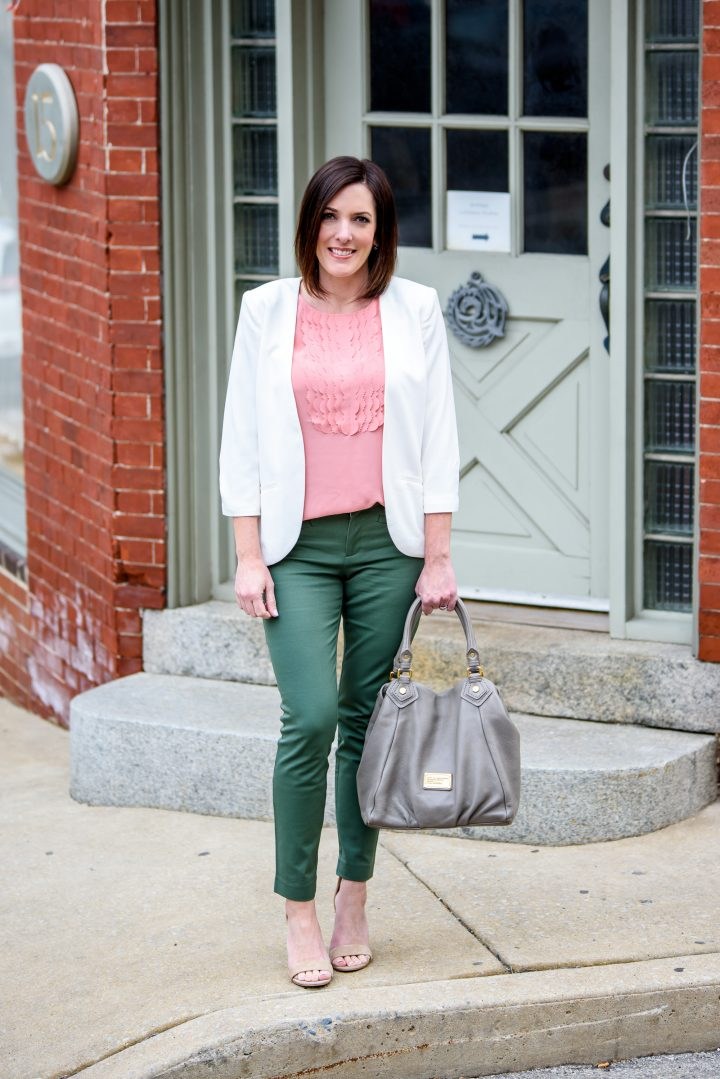 Spring Work Wear Outfit: Jungle Green Skinny Ankle Pants