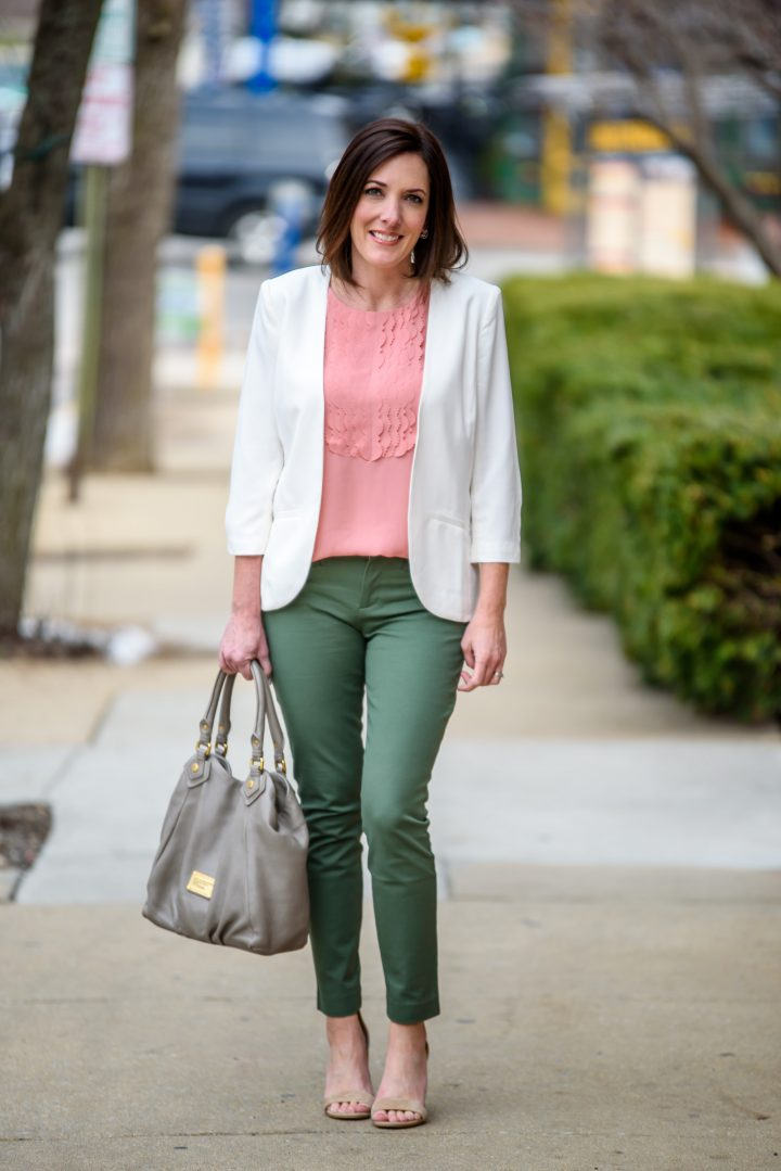 Spring Work Wear Outfit Jungle Green Skinny Ankle Pants
