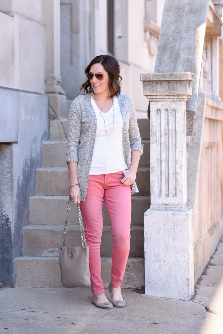 Pink Jeans Outfit With Grey Cardigan