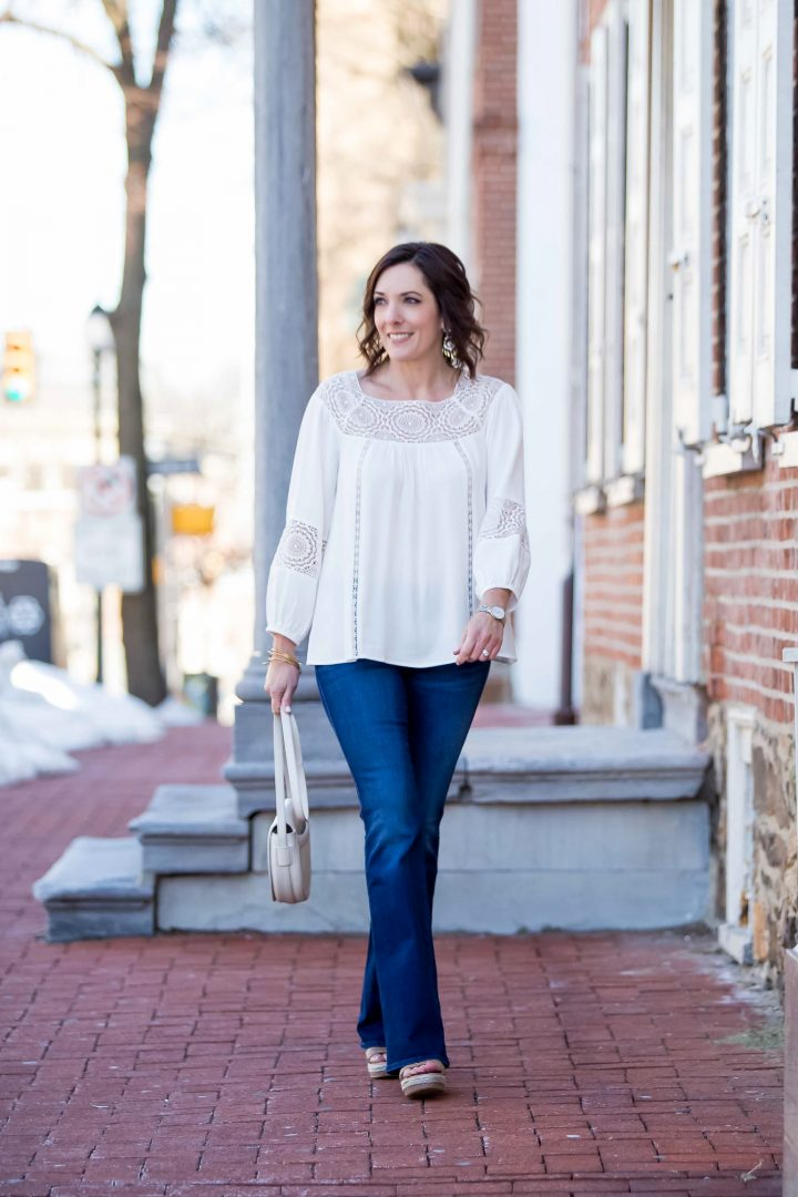 Lace Trim Peasant Blouse with Bootcut Jeans