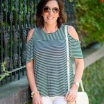Cold Shoulder Stripe Tee for Sightseeing in Savannah