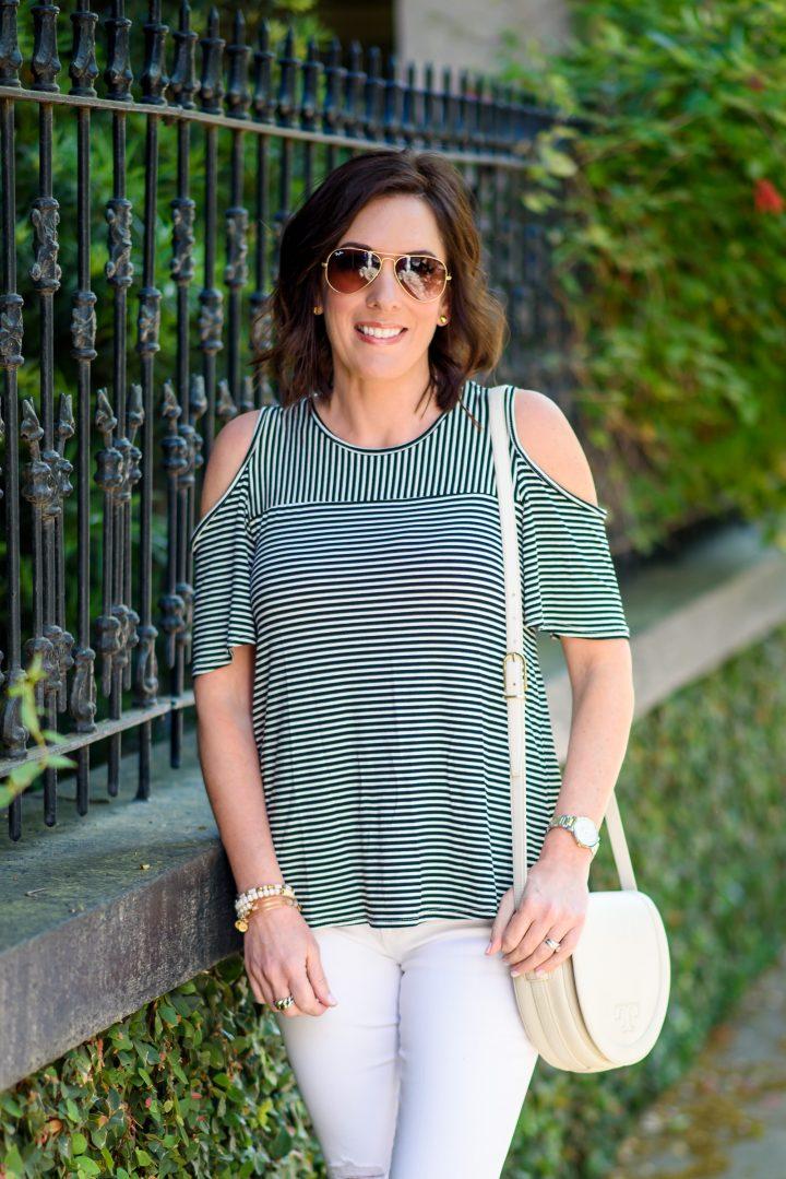 Cold Shoulder Stripe Tee for Sightseeing in Savannah