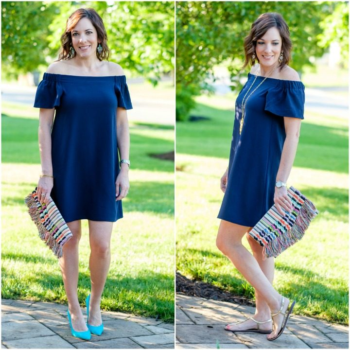 Navy Off-the-Shoulder Dress Two Ways