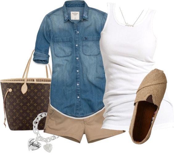 soccer mom outfit: chambray shirt, white tank, khaki shorts, woven slip-ons