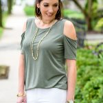 Olive Cold Shoulder Top + White Jeans Under $100